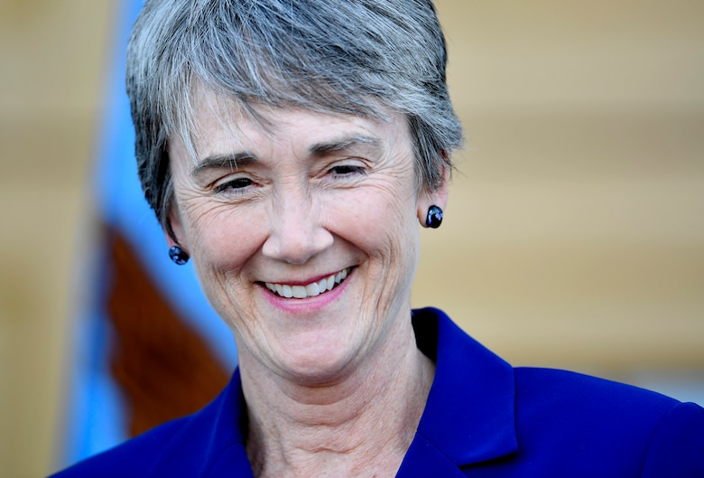 Newly sworn Secretary of the Air Force Heather Wilson thanks family, friends and colleagues during her ceremonial oath of office as the 24th Air Force secretary, at the Pentagon, May 16, 2017.  (U.S. Air Force photo/Wayne A. Clark)