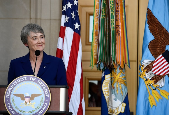 Newly sworn Secretary of the Air Force Heather Wilson thanks family, friends and colleagues during her ceremonial oath of office as the 24th Air Force secretary, at the Pentagon event, May 16, 2017.  (U.S. Air Force photo/Wayne A. Clark)