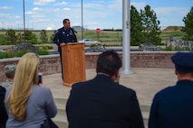 Chief Nick Metz, the City of Aurora Police Chief, speaks at the Retreat ceremony May 15, 2017, on Buckley Air Force Base, Colo. The Retreat ceremony recognizes fallen civilian and military law enforcement officers with the 21-gun salute, the playing of TAPS and the National Anthem. (U.S. Air Force photo by Airman Jacob Deatherage/Released)