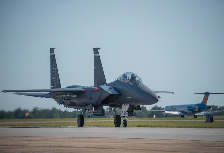 Brig. Gen. Christopher Azzano, 96th Test Wing commander, taxis down the runway during his fini flight at Eglin Air Force Base, Fla. May 15. The fini flight is a symbol of a member's final flight with the unit or base. Azzano's new assignment will take him to Wright-Patterson Air Force Base in Ohio to take command of the Directorate of Air, Space and Cyberspace Operations. (U.S. Air Force photo/Ilka Cole)