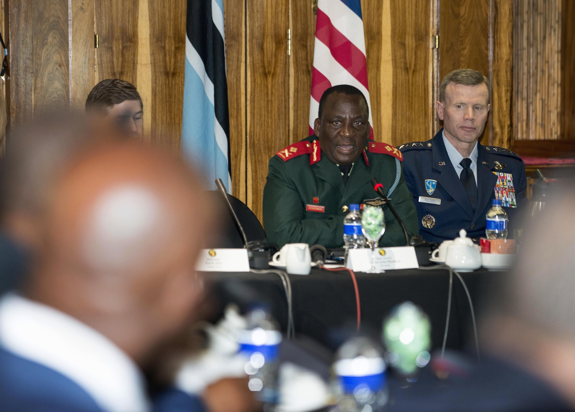 Maj. Gen. Innocent S. Phatshwana, Botswana Defence Force Air Arm commander, speaks during the opening ceremony of the 2017 African Air Chiefs Symposium in Kasane, Botswana May 16, 2017. This year's conference is co-hosted by the United States and Botswana and will focus on the training aspect of force development. (U.S. Air Force photo by Staff Sgt. Krystal Ardrey)