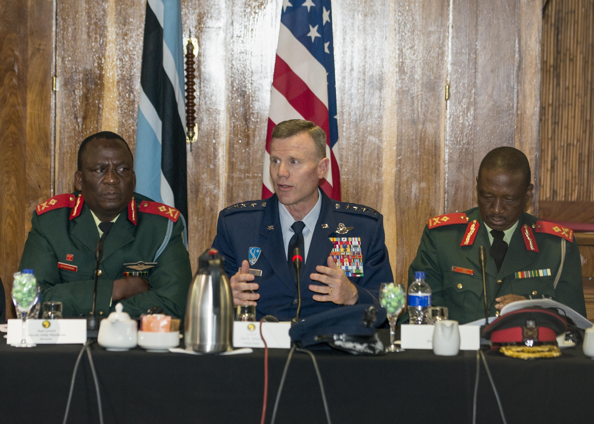 Gen. Tod D. Wolters, U.S. Air Forces in Europe and Air Forces Africa commander, speaks during the opening ceremony of the 2017 African Air Chiefs Symposium in Kasane, Botswana on May 16, 2017. The purpose of the symposium is to create a forum for air chiefs from across the African continent to come together to address regional and continental issues, enhance relationships and increase cooperation. This year's conference will focus on the training aspect of force development. (U.S. Air Force photo by Staff Sgt. Krystal Ardrey)