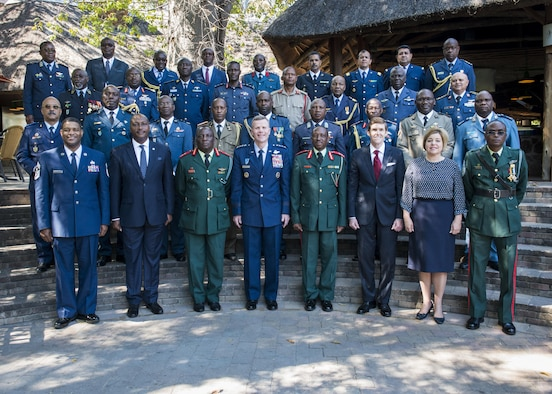 Air chiefs attending the 2017 African Air Chiefs Symposium pose for a group photo in Kasane, Botswana on May 16, 2017. The nations in attendance are Angola, Benin, Botswana, Burkino Faso, Burundi, Chad, Democratic Republic of the Congo, Gabon, Ghana, Keyna, Lesotho, Madagascar, Mali, Malawi, Mauritania, Morocco, Mozambique, Nigeria, Rwanda, Senegal, Seychelles, South Africa, Swaziland, Tanzania, Togo, Tunisa, Uganda, United States of America and Zambia. A representative from the African Union was also in attendance. (U.S. Air Force photo by Staff Sgt. Krystal Ardrey)
