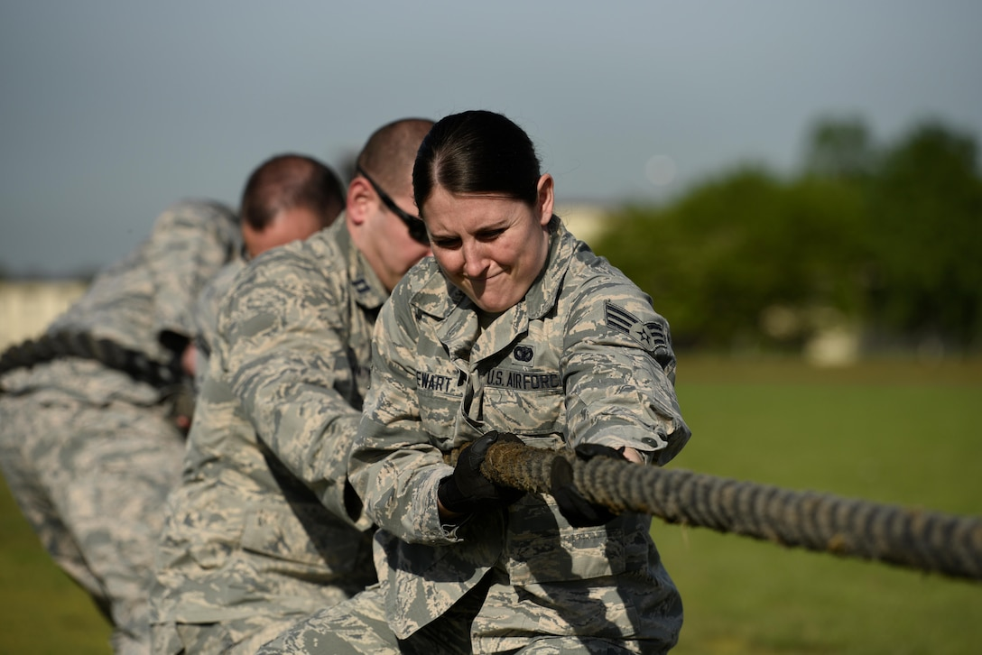 Senior Airmen Stephanie Stewart, 52nd Security Forces Squadron patrolman, competes in tug-of-war event during the Battle of the Badges at Spangdahlem Air Base, Germany, May 15, 2017. The event was part of National Police Week to recognize the service and sacrifice of law enforcement officers. . (U.S. Air Force photo by Staff Sgt. Jonathan Snyder)