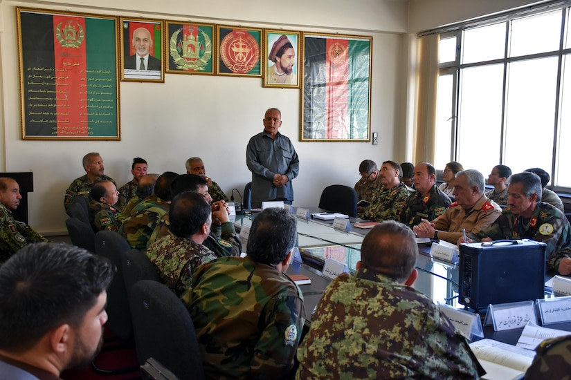KABUL, Afghanistan (May 16, 2017) — Maj. Gen. Abdul Razaq Siawash, Afghan National Army medical commander, listens to medical directors from throughout Afghanistan during a meeting at the Kabul National Military Hospital. During the meeting, Siawash announced that the hospital was fully functioning and restoration was 95 percent completed, following an attack on the hospital in March. (Photo by Resolute Support Public Affairs)