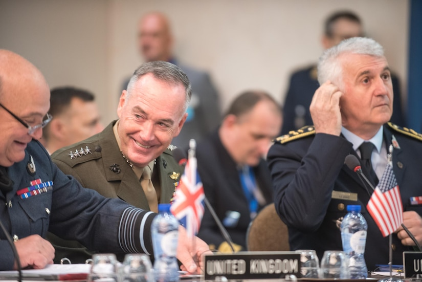 Marine Corps Gen. Joe Dunford, chairman of the Joint Chiefs of Staff, meets with his counterparts during a NATO Military Committee Meeting in Brussels, May 17, 2017. The chiefs of defense met to discuss Afghanistan, countering terrorism and other NATO operations and missions to provide the North Atlantic Council with consensus-based military advice on how to best meet global security challenges. DoD photo by Army Sgt. James K. McCann