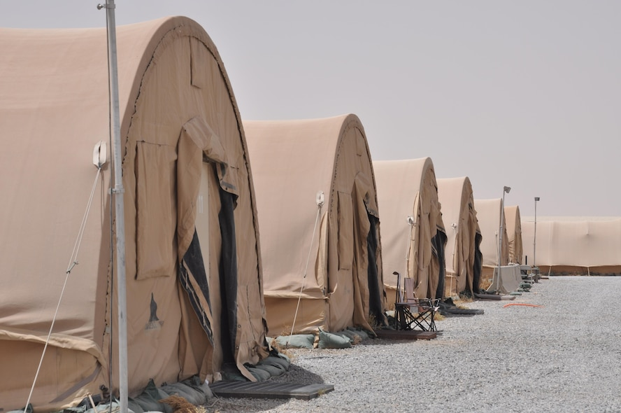 The 386th Air Expeditionary Wing is slated to break ground on its tents to trailers lodging construction project in June. The project will remove the existing war reserve material tents and generator power infrastructure and replace them with semi-permanent facilities hooked up to commercial power, resulting in improved quality of life for Airmen and transient personnel. (U.S. Air Force photo/ Master Sgt. Eric Sharman)