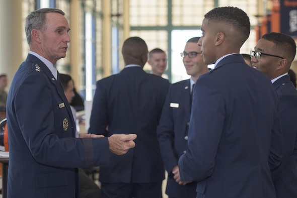 U.S. Air Force Lt. Gen. Anthony Rock, Secretary of the Air Force Inspector General, speaks to commissioning second lieutenants May 12, 2017 at the University of Texas San Antonio. Rock reports both to the secretary and chief of staff of the Air Force on matters concerning effectiveness, efficiency, and the military discipline of active-duty, Air Force Reserve, and Air National Guard forces.  (U.S. Air Force photo by Senior Airman Stormy Archer)