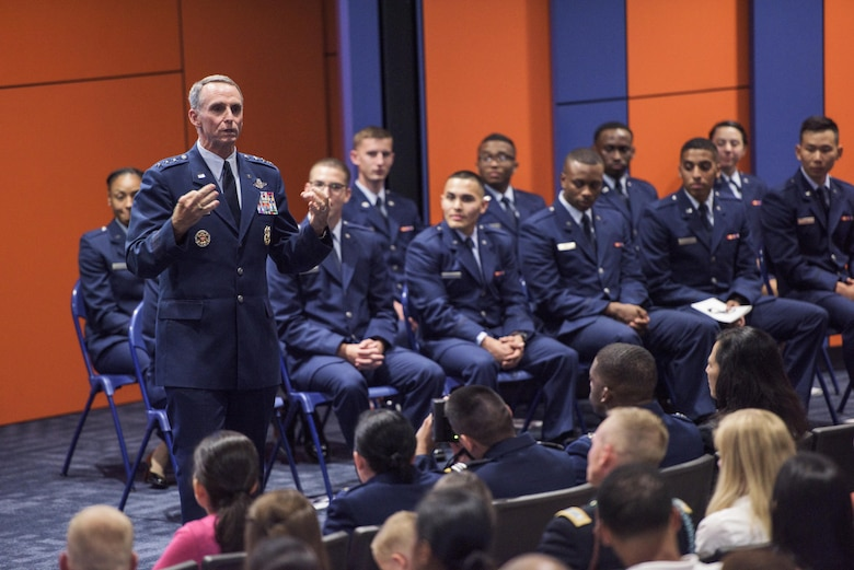 U.S. Air Force Lt. Gen. Anthony Rock, Secretary of the Air Force Inspector General, speaks during a commissioning ceremony May 12, 2017 at the University of Texas San Antonio. Rock is a San Antonio native who graduated from UTSA 35 years ago. (U.S. Air Force photo by Senior Airman Stormy Archer)
