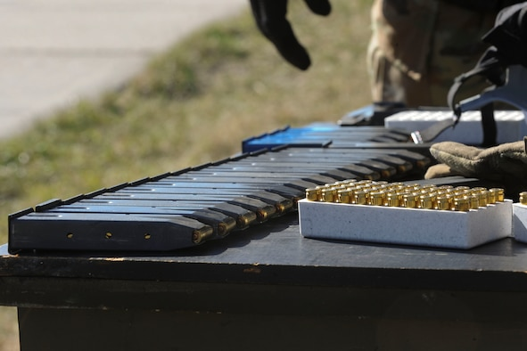 Ammunition sits on a table at Camp Grafton South, Devil's Lake, N.D., May 4, 2017. The 91st Security Forces Group Global Strike Challenge team trained in preparation for the upcoming competition, which challenges security forces tactics, job knowledge and weapons firing. (U.S. Air Force photo/Airman 1st Class Jessica Weissman)