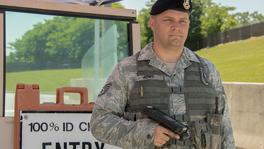 Staff Sgt. Dustin Jones is a 94th Security Forces Squadron patrolman. He describes his proudest moment as a police officer catching four people trying to rob a car near Clay National Guard Center. (U.S. Air force photo/Andrew Park)