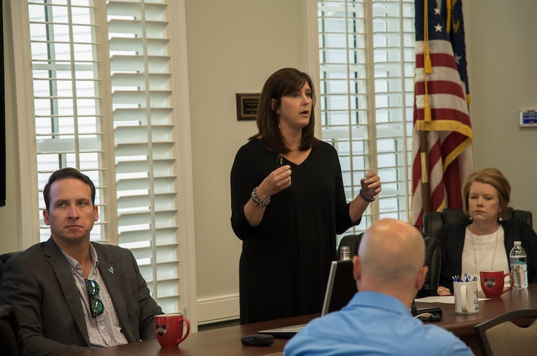 Andrea Schruijer, Executive Director Valdosta-Lowndes Development Authority, speaks with members of Leadership Moody about the role the Valdosta-Lowndes Development Authority plays in the local area, May 12th, 2017, at the Valdosta-Lowndes Development Authority. Leadership Moody is a development leadership program at Moody Air Force Base where selected Senior Non-Commissioned Officers, Field Grade Officers, and civilians gain leadership insights from local area leaders in government, education or other community agencies. (U.S. Air Force Photo by Capt. Korey Fratini)