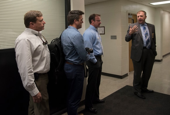 Valdosta Chief of Police Brian Childress, gives a tour of the Valdosta police department to members of Leadership Moody, May 12th, 2017, at the Valdosta, Ga., Police Department.  Leadership Moody is a development leadership program at Moody Air Force Base where selected Senior Non-Commissioned Officers, Field Grade Officers, and civilians gain leadership insights from local area leaders in government, education or other community agencies. (U.S. Air Force Photo by Capt. Korey Fratini)
