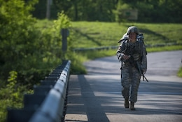 U.S. Army Sgt. Kandy Christian, the 2017 Army Human Resources Command Soldier of the Year, marches up Misery Hill during the HRC Best Warrior Competition held at Fort Knox, Ky., May 10, 2017. Christian, along with Sgt. 1st Class Francis Reyes, 2017 Army Human Resources Command Noncommissioned Officer of the Year, moved on to the Fort Knox Installation competition held on post May 21 through 25.  (U.S. Army photo by Master Sgt. Brian Hamilton)