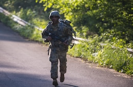 Sgt. 1st Class Francis Reyes, 2017 U.S. Army Human Resources Command Noncommissioned Officer of the Year, marches up Misery Hill during the HRC Best Warrior Competition held at Fort Knox, Ky., May 8-11, 2017. Reyes along with Sgt. Kandy Christian, 2017 U.S. Army Human Resources Command Soldier of the Year now move on to the Fort Knox Installation competition held on post 21-25 May.  (U.S. Army Photo by Master Sgt. Brian Hamilton)