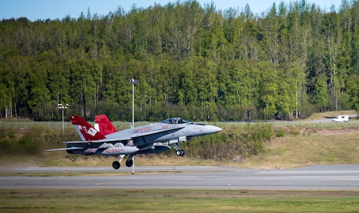 Marine Fighter Attack Squadron (VMFA) 232 conducts flight operations during exercise Distant Frontier on Joint Base Elmendorf-Richardson, Alaska, May 17, 2017. Distant Frontier is a unit-level training iteration designed to sharpen participants' tactical combat skills and develop interoperable plans and programs across the joint force. (U.S. Marine Corps Photo by Lance Cpl. Jacob A. Farbo)