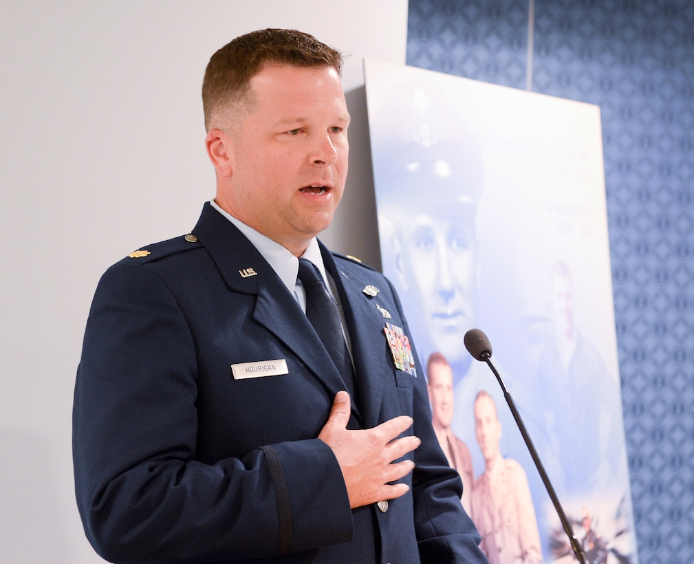 Maj. John Hourigan, a 123rd Operations Support Squadron C-130 Hercules pilot,  speaks after receiving the Koren Kolligian Trophy during ceremony in the Pentagon, Washington, D.C., May 17, 2017. (U.S. Air Force Photo/Andy Morataya)