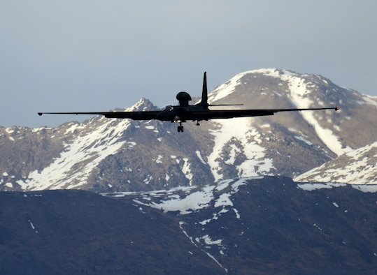 A U-2 Dragon Lady prepares to land during exercise Northern Edge 17 at Joint Base Elmendorf-Richardson, Alaska, May 8, 2017. The U-2 participated for the first time in Northern Edge, which is a biennial joint training exercise involving approximately 6,000 personnel and 200 fixed-wing aircraft, and dates back to 1975. (U.S. Air Force photo by Staff Sgt. Jeffrey Schultze)