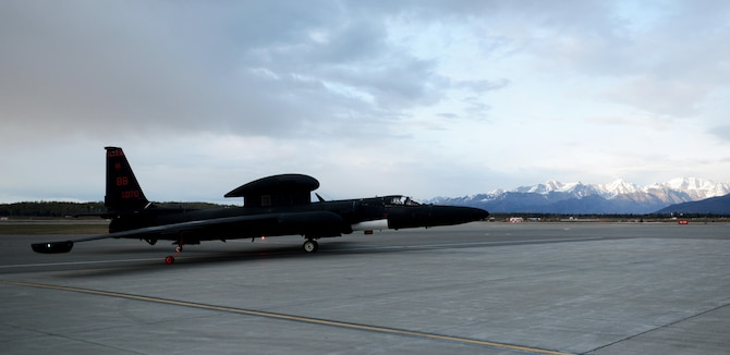 A U-2 Dragon Lady taxis after landing during exercise Northern Edge 17 at Joint Base Elmendorf-Richardson, Alaska, May 8, 2017. The U-2 participated for the first time in Northern Edge, which is a biennial joint training exercise involving approximately 6,000 personnel and 200 fixed-wing aircraft, and dates back to 1975. (U.S. Air Force photo/Staff Sgt. Jeffrey Schultze)