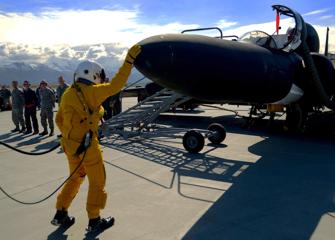 A U-2 Dragon lady pilot touches the nose of the aircraft before takeoff during exercise Northern Edge 17 at Joint Base Elmendorf-Richardson, Alaska, May 10, 2017. The U-2 participated for the first time in Northern Edge, which is a biennial joint training exercise involving approximately 6,000 personnel and 200 fixed-wing aircraft, and dates back to 1975. (U.S. Air Force photo/Staff Sgt. Jeffrey Schultze)