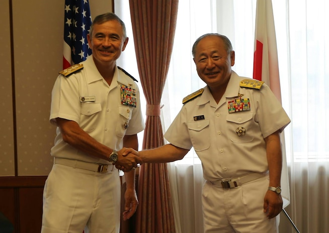 USPACOM Commander, Admiral Harry Harris meets with   Japan Self-Defense Force Chief of Staff, Joint Staff, Admiral Katsutoshi Kawano at the Ministry of Defense in Tokyo, May 16, 2017
