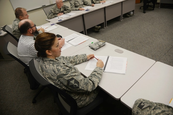 U.S. Air Force Senior Master Sgt. Tonya Joyce sits in on the first Career Assistance Advisor training course for the newly redesigned First Term Airmen Course at Joint Base San Antonio-Randolph, Texas, held in November 2016. Joyce, the Career Field Manager for CAAs at the Air Force Personnel Center was a member of the working group that developed the new FTAC curriculum. (U.S. Air Force photo by Melissa Peterson)