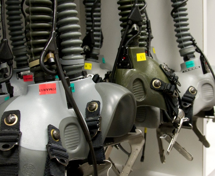 Oxygen Mask Breathing Units-5/P are stored on hooks when not being used by students undergoing altitude training at the 779th Aerospace Medical Squadron chamber facility at Joint Base Andrews, Md. Students are typically military or civilian personnel who perform their jobs in flying aircraft, like pilots, flight engineers, boom operators, load masters, flight attendants and aerial photographers. (U.S. Air Force photo by Staff Sgt. Joe Yanik)