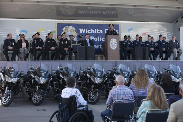 Wichita Falls, Texas, Chief of Police Manuel Borrego, provides closing remarks during the National Police Week proclamation ceremony, May 15, 2017. National Police Week honors both current and former law enforcement officers as well as officers who've paid the ultimate sacrifice. (U.S. Air Force photo by Staff Sgt. Kyle E. Gese)