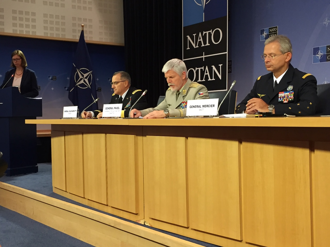 Left to right: U.S. Army Gen. Curtis M. Scaparrotti, NATO's supreme allied commander Europe; Gen. Petr Pavel of the Czech army, the chairman of the NATO Military Committee; and Gen. Denis Mercier of the French air force, NATO's supreme allied commander for transformation, brief the reporters after a meeting of the alliance Military Committee in Brussels, May 17, 2017. DoD photo by Jim Garamone