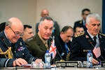 Marine Corps Gen. Joe Dunford, chairman of the Joint Chiefs of Staff, meets with counterparts during a NATO Military Committee Meeting in Brussels, May 17, 2017. The chiefs of defense met to discuss Afghanistan, countering terrorism and other NATO operations and missions to provide the North Atlantic Council with consensus-based military advice on how to best meet global security challenges. DoD photo by Army Sgt. James K. McCann