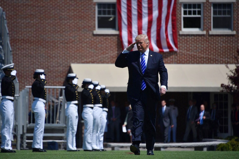 President Donald J. Trump salutes the 195 cadets during the 136th U.S. Coast Guard Academy Commencement in New London, Conn., May 17, 2017. Each year, the president delivers the commencement address at one of the U.S. military service academies. This was the first time Trump addressed a service academy graduating class as commander in chief. Coast Guard photo by Petty Officer 2nd Class Patrick Kelley