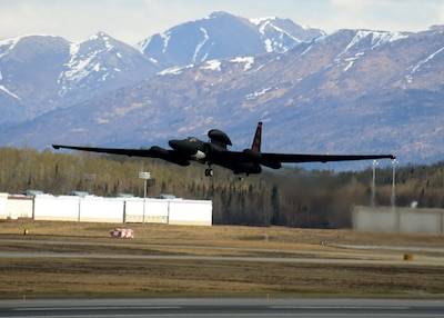 A U-2S Dragon Lady aircraft takes off during exercise Northern Edge 17 at Joint Base Elmendorf-Richardson, Alaska, May 8, 2017. The U-2S participated for the first time in Northern Edge, a joint training exercise focused on interoperability, which hosted about 6,000 service members, 200 fixed-wing aircraft and provided the Army, Navy, Air Force, Marines and Coast Guard with critical training. Air Force photo by Staff Sgt. Jeffrey Schultze