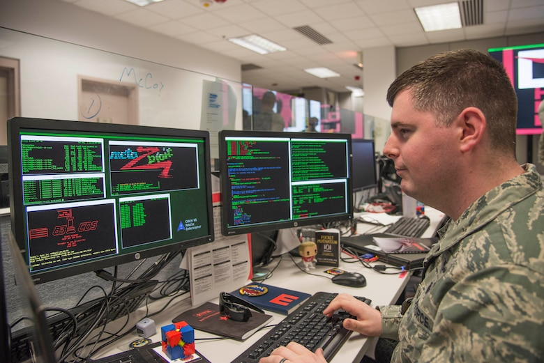A member of a Cyber Protection Team participates in the Air Force's Exercise Black Demon, designed to validate his ability to protect and defend specific critical missions or assests. Unlike other communications specialists who work to defend and protect an entire network, CPTs have advanced training and skillsets that go deeper into locating and then neutralizing the threats posed to high priority missions. (U.S. Air Force photo by Airman 1st Class Daniel Garcia)
