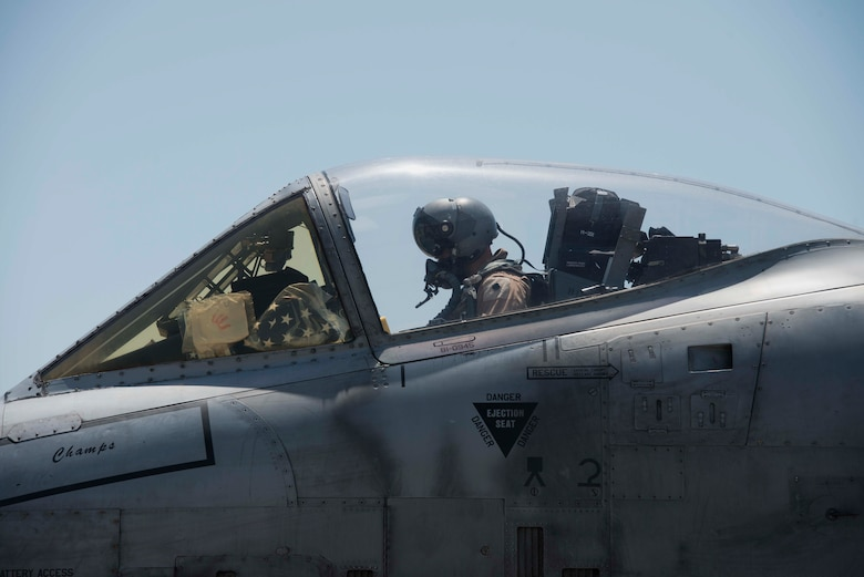 A U.S. Air Force pilot with the 354th Expeditionary Fighter Squadron, conducts a pre-flight check in an A-10 Thunderbolt II May 11, 2017, at Incirlik Air Base, Turkey, in support of Operation INHERENT RESOLVE. Pre-flight checks are accomplished to ensure the aircraft is prepared for flight. (U.S. Air Force photo by Airman 1st Class Devin M. Rumbaugh)