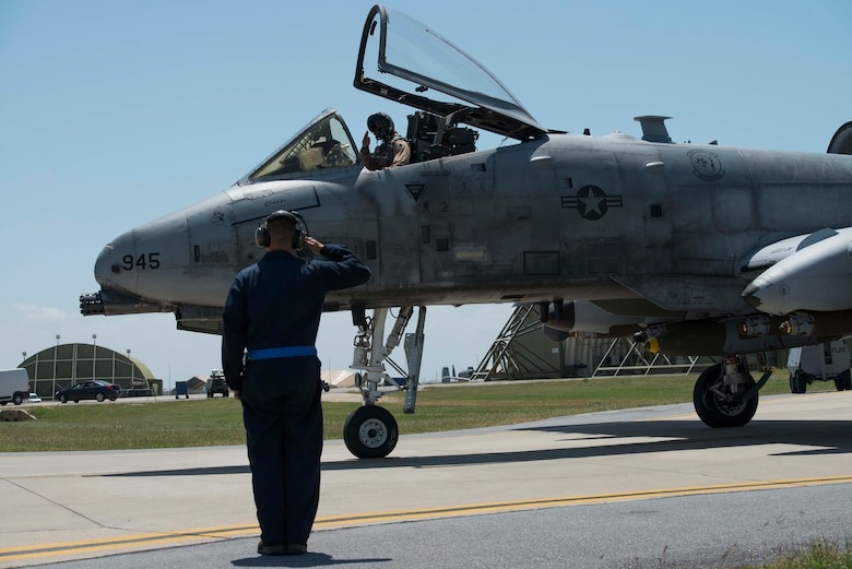 U.S. Air Force Staff Sgt. Nicholas Reider, crew chief with the 447th Expeditionary Aircraft Maintenance Squadron, salutes a pilot in an A-10 Thunderbolt II prior to taxiing May 11, 2017, at Incirlik Air Base, Turkey, in support of Operation INHERENT RESOLVE. Crew chiefs are responsible for launching, recovering and maintaining aircraft. (U.S. Air Force photo by Airman 1st Class Devin M. Rumbaugh)