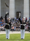 The U.S. Marine Corps Silent Drill Platoon executes precision drill maneuvers during a Battle Color Ceremony at the Ohio Statehouse, Columbus, Ohio, May 16, 2017. The Marine Corps Battle Color Detachment was invited and hosted by the Speaker of the Ohio House of Representatives, Clifford A. Rosenberger, to tour the Statehouse and perform for members of the House of Representatives and the city of Columbus. In December, the Barracks provided Marines in supporting the public viewing of former Marine, Senator and astronaut, John Glenn, at the Statehouse. In attendance at the Battle Color Ceremony was Glenn's widow, Annie Glenn, to show her continued support of the beloved Corps. (Official Marine Corps photo by Cpl. Robert Knapp/Released)