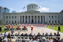 """The Commandant's Own"" the U.S. Marine Drum & Bugle Corps perform for guests during a Battle Color Ceremony at the Ohio Statehouse, Columbus, Ohio, May 16, 2017. The Marine Corps Battle Color Detachment was invited and hosted by the Speaker of the Ohio House of Representatives, Clifford A. Rosenberger, to tour the Statehouse and perform for members of the House of Representatives and the city of Columbus. In December, the Barracks provided Marines in supporting the public viewing of former Marine, Senator and astronaut, John Glenn, at the Statehouse. In attendance at the Battle Color Ceremony was Glenn's widow, Annie Glenn, to show her continued support of the beloved Corps. (Official Marine Corps photo by Cpl. Robert Knapp/Released)"