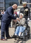 Annie Glenn, widow of former Marine Senator and astronaut, John Glenn, speaks to guests during a Battle Color Ceremony at the Ohio Statehouse, Columbus, Ohio, May 16, 2017. The Marine Corps Battle Color Detachment was invited and hosted by the Speaker of the Ohio House of Representatives, Clifford A. Rosenberger, to tour the Statehouse and perform for members of the House of Representatives and the city of Columbus. In December, the Barracks provided Marines in supporting the public viewing of former Marine, Senator and astronaut, John Glenn, at the Statehouse. In attendance at the Battle Color Ceremony was Glenn's widow, Annie Glenn, to show her continued support of the beloved Corps. (Official Marine Corps photo by Cpl. Robert Knapp/Released)