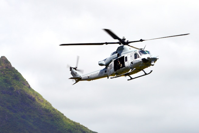 A Marine Corps UH-1Y Huey helicopter approaches for a landing at Marine Corps Training Area Bellows, Hawaii, May 16, 2017. The helicopter crew is assigned to Marine Light Attack Helicopter Squadron 367. The Marines provided support to soldiers assigned to the 25th Infantry Division's 3rd Squadron, 4th Cavalry Regiment, 3rd Brigade Combat Team, during helocast insertion into the Pacific Ocean. Army photo by Staff Sgt. Armando R. Limon