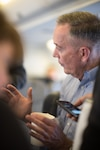 Marine Corps Gen. Joe Dunford, the chairman of the Joint Chiefs of Staff, speaks with reporters on his way back to Washington, D.C., following NATO meetings in Brussels, May 17, 2017. DoD photo by Army Sgt. James McCann
