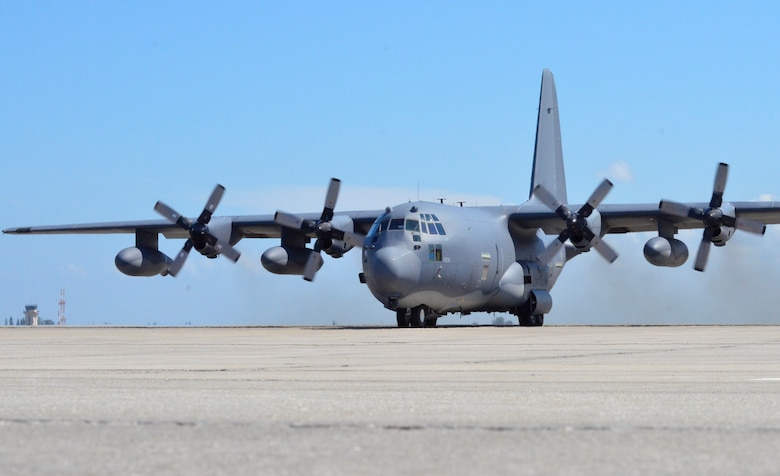 A 920th Rescue Wing HC-130 King aircraft takes off from  Patrick Air Force Base, Florida, May 16 for a five-hour search and rescue mission off the coast of the Bahamas to locate a downed aircraft and its four passengers. (U.S. Air Force photo/Senior Airman Brandon Kalloo)
