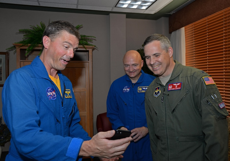Reid Wiseman, U.S. Navy Cmdr. and astronaut, shares his experiences while in orbit to Col. Thatcher Cordon, commander of the 47th Medical Group, and to Blake Chamberlain, an Air Force Reserves colonel and astronaut, on Laughlin Air Force Base, May 17, 2017.  Wiseman and Chamberlain visited Laughlin to view a demonstration of Cardon's award winning space suit. (U.S. Air Force photo by Airman 1st Class Daniel Hambor)