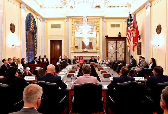 Secretary of the Air Force Heather Wilson, center, and Air Force Chief of Staff Gen. David Goldfein, to her right, testify before the Senate Armed Services Subcommittee on Strategic Forces May 17, 2017, in Washington, D.C. With Wilson and Goldfein were Lt. Gen. Samuel Greaves, the Space and Missile Systems Center commander; Gen. John Raymond, the Air Force Space Command commander and Cristina Chapin, the General Accounting Office director of acquisition and sourcing management. The committee examined military space organization, policy, and programs. (U.S. Air Force photo/Scott M. Ash)