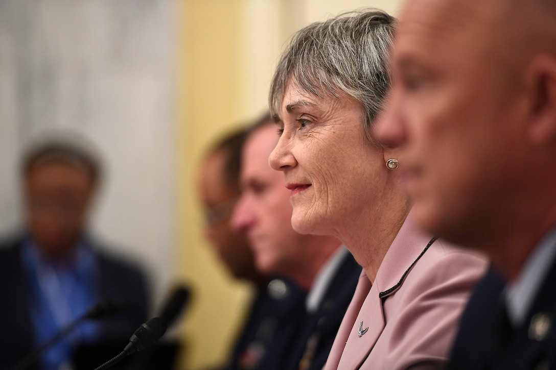 Secretary of the Air Force Heather Wilson testifies before the Senate Armed Services Subcommittee on Strategic Forces May 17, 2017, in Washington, D.C. With Wilson were Air Force Chief of Staff Gen. David Goldfein, Lt. Gen. Samuel Greaves, the Space and Missile Systems Center commander; Gen. John Raymond, the Air Force Space Command commander and Cristina Chapin, the General Accounting Office director of acquisition and sourcing management. The committee examined military space organization, policy, and programs.  (U.S. Air Force photo/Scott M. Ash)
