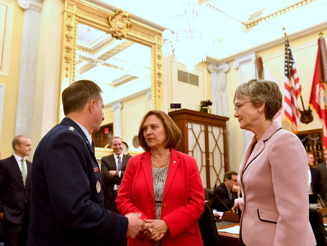 Air Force Chief of Staff Gen. David Goldfein and Secretary of the Air Force Heather Wilson speak with Sen. Deb Fischer, R-Nebr., before testifying for the Senate Armed Services Subcommittee on Strategic Forces May 17, 2017, in Washington, D.C. With Wilson and Goldfein were Lt. Gen. Samuel Greaves, the Space and Missile Systems Center commander; Gen. John Raymond, the Air Force Space Command commander and Cristina Chapin, the General Accounting Office director of acquisition and sourcing management. The committee examined military space organization, policy, and programs. (U.S. Air Force photo/Scott M. Ash)