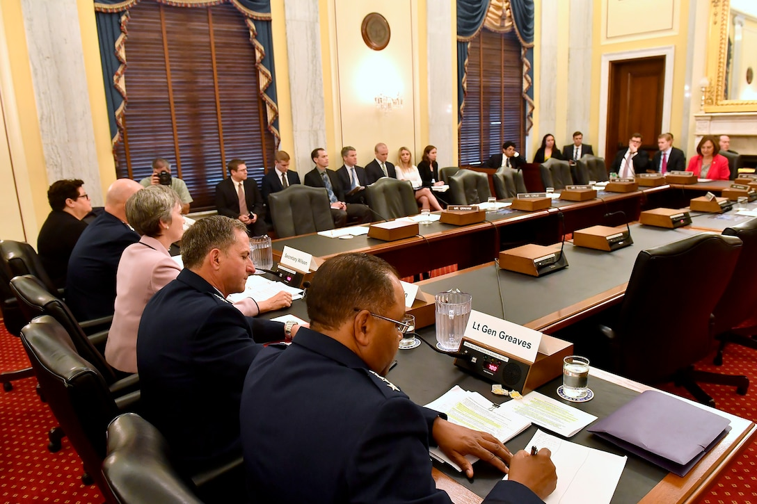 Secretary of the Air Force Heather Wilson and Air Force Chief of Staff Gen. David Goldfein testify before the Senate Armed Services Subcommittee on Strategic Forces May 17, 2017, in Washington, D.C. With Wilson and Goldfein were Lt. Gen. Samuel Greaves, the Space and Missile Systems Center commander; Gen. John Raymond, the Air Force Space Command commander and Cristina Chapin, the General Accounting Office director of acquisition and sourcing management. The committee examined military space organization, policy, and programs. (U.S. Air Force photo/Scott M. Ash)