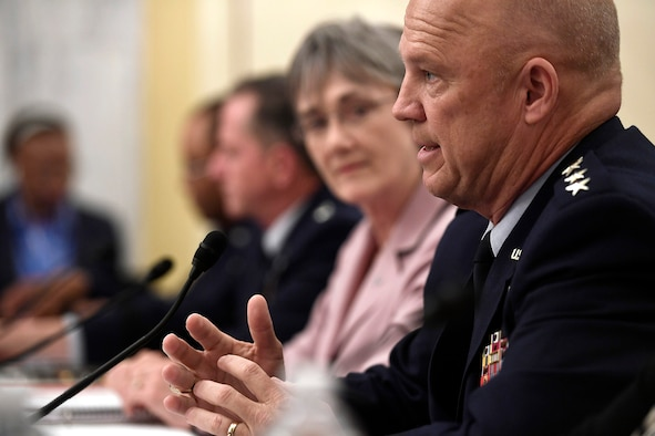 Gen. John Raymond, the Air Force Space Command commander, testifies with Secretary of the Air Force Heather Wilson and Air Force Chief of Staff Gen. David Goldfein before the Senate Armed Services Subcommittee on Strategic Forces May 17, 2017, in Washington, D.C. Sharing the panel with them were Lt. Gen. Samuel Greaves, the Space and Missile Systems Center commander and Cristina Chapin, the General Accounting Office director of acquisition and sourcing management. The committee examined military space organization, policy, and programs. (U.S. Air Force photo/Scott M. Ash)