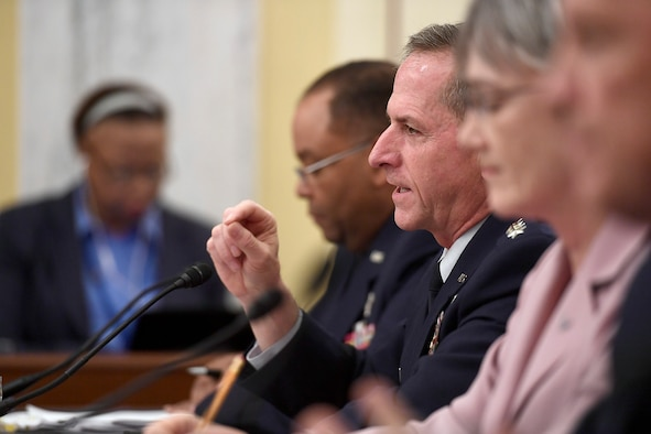 Air Force Chief of Staff Gen. David Goldfein and Secretary of the Air Force Heather Wilson testify before the Senate Armed Services Subcommittee on Strategic Forces May 17, 2017, in Washington, D.C. With Wilson and Goldfein were Lt. Gen. Samuel Greaves, the Space and Missile Systems Center commander; Gen. John Raymond, the Air Force Space Command commander and Cristina Chapin, the General Accounting Office director of acquisition and sourcing management. The committee examined military space organization, policy, and programs. (U.S. Air Force photo/Scott M. Ash)