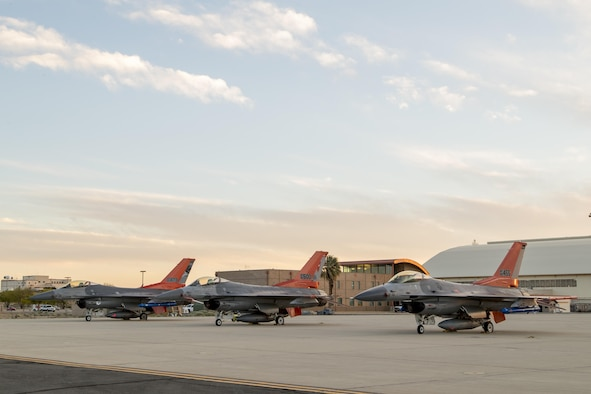 Three QF-16s from Tyndall Air Force Base, Florida, and Holloman Air Force Base, New Mexico, sit on the Edwards AFB flightline April 28. The full-scale aerial targets were requested by the Joint Operational Test Team to assist with test design development for upcoming operational testing of the F-35 Joint Strike Fighter. (U.S. Air Force photo/Chris Higgins)
