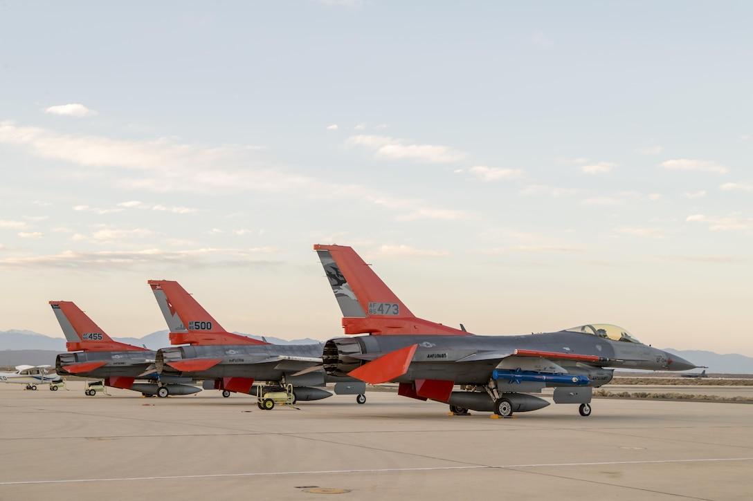 Three QF-16s from Tyndall Air Force Base, Florida, and Holloman Air Force Base, New Mexico, sit on the Edwards AFB flightline April 28. The full-scale aerial targets were requested by the Joint Operational Test Team to assist with test design development for upcoming operational testing of the F-35 Joint Strike Fighter. (U.S. Air Force photo by Chris Higgins)